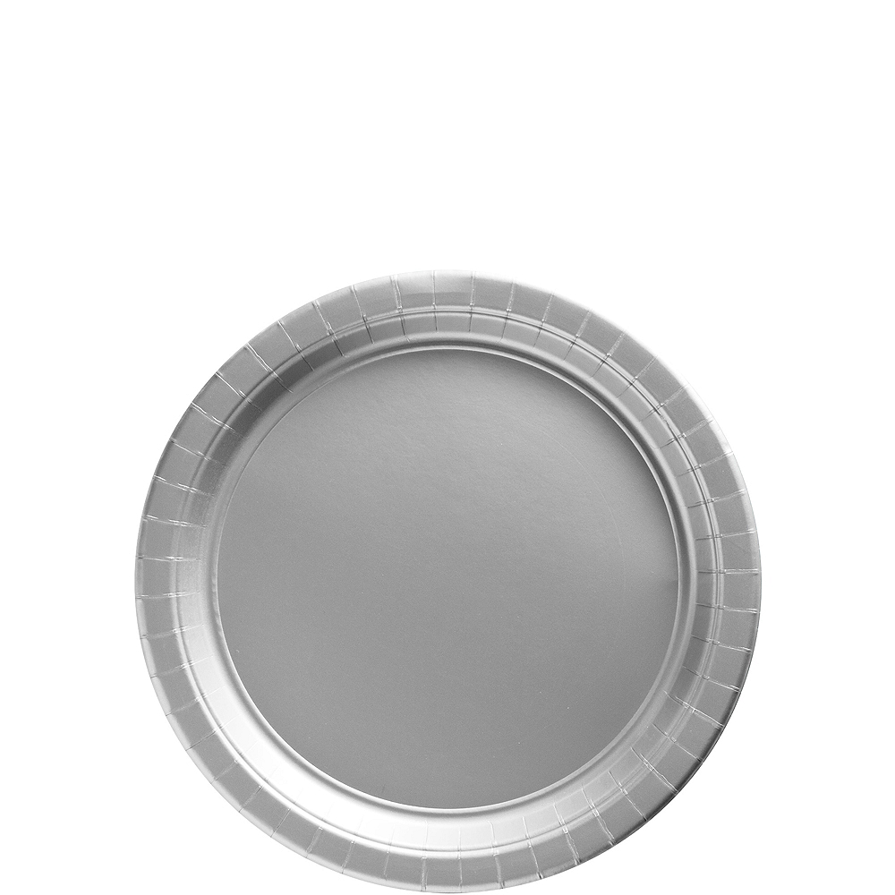 Silver Paper Dessert Plates, 7in, 50ct Image #1