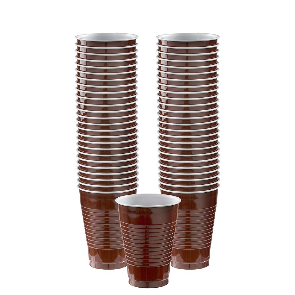 Chocolate Brown Plastic Cups, 12oz, 50ct Image #1