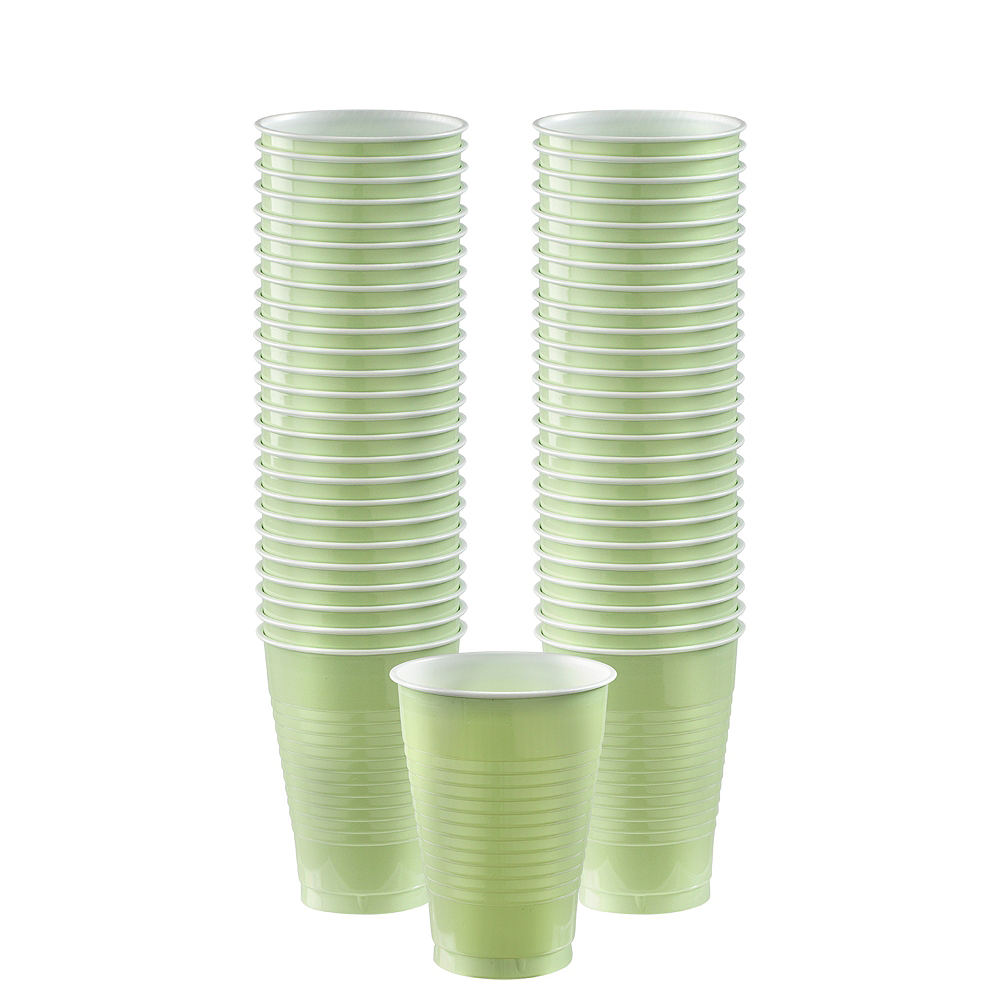 Big Party Pack Leaf Green Plastic Cups 50ct Image #1