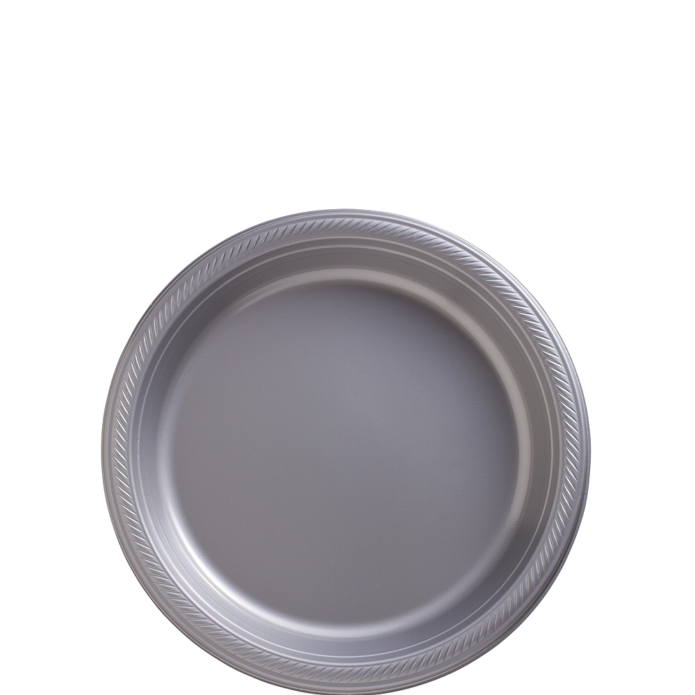 Nav Item for Silver Plastic Dessert Plates, 7in, 50ct Image #1