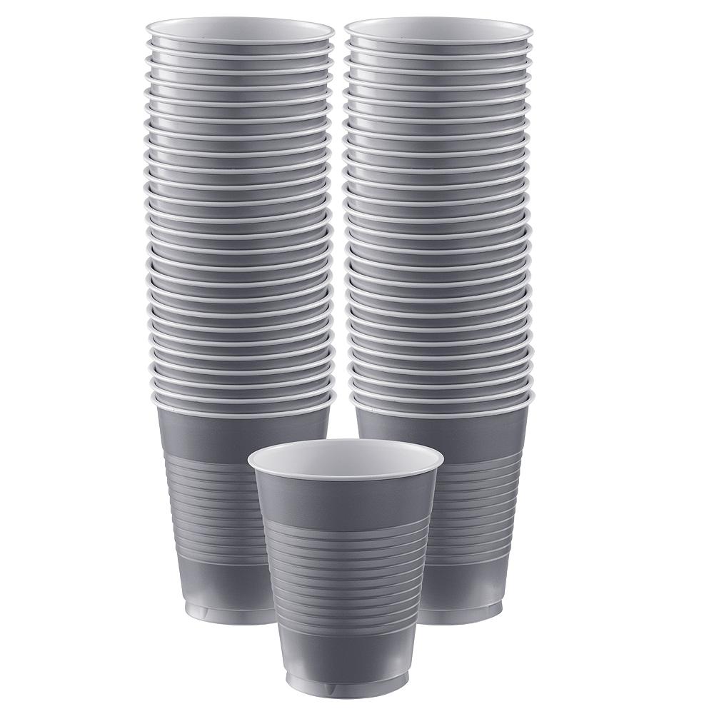 Silver Plastic Cups, 16oz, 50ct Image #1