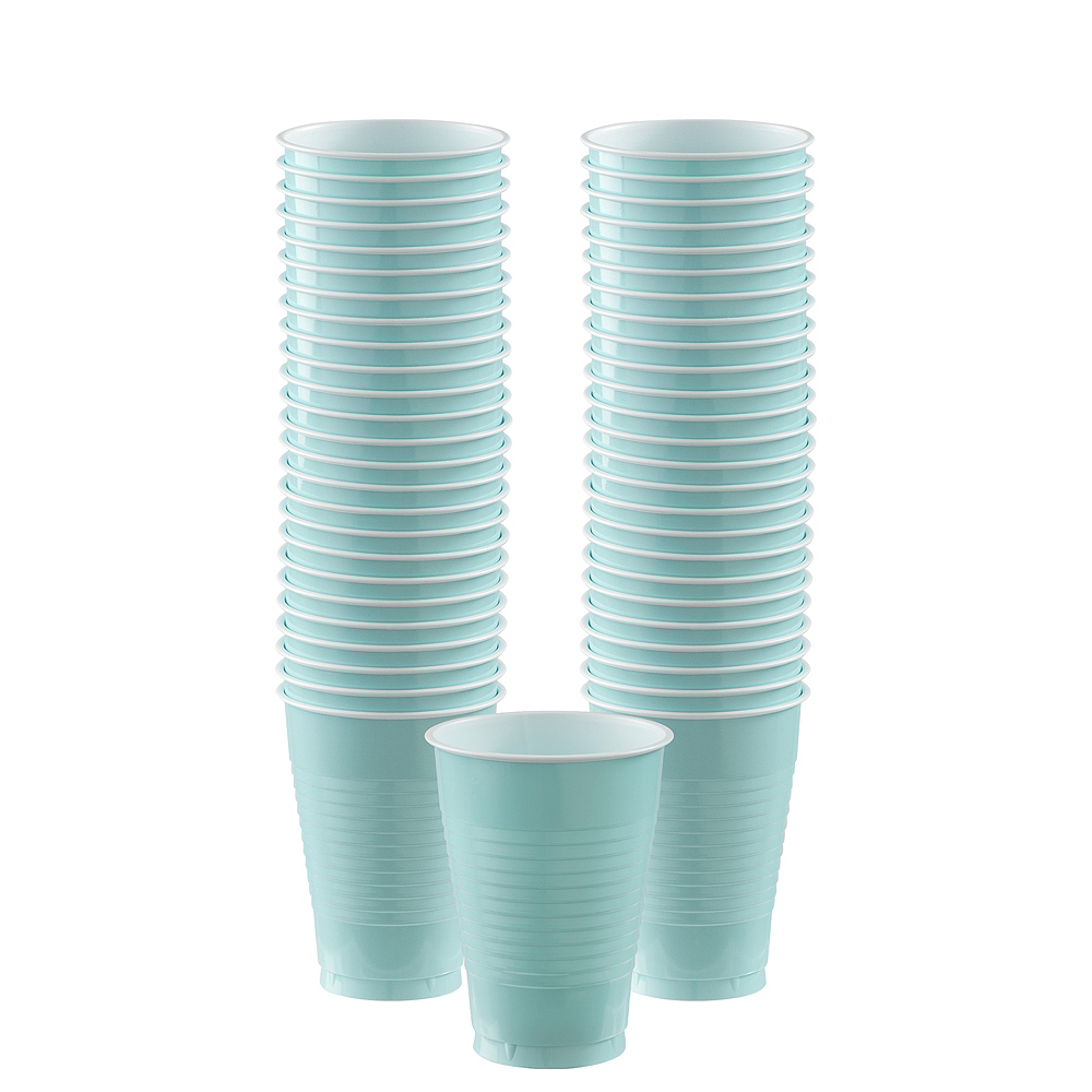 Big Party Pack Robin's Egg Blue Plastic Cups 50ct Image #1