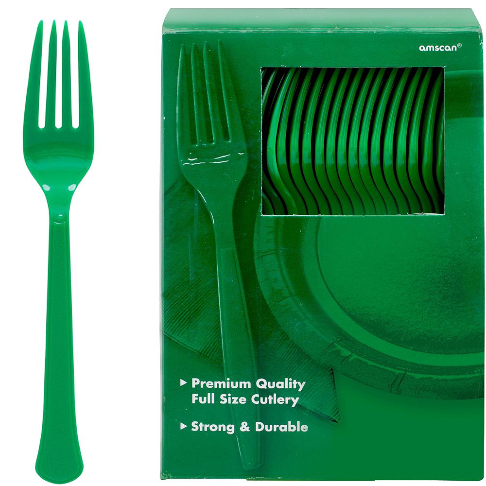 Big Party Pack Festive Green Premium Plastic Forks 100ct Image #1