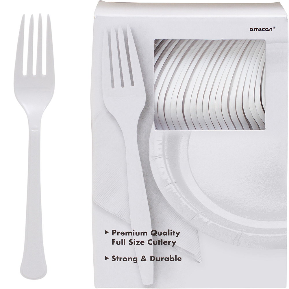 Big Party Pack White Premium Plastic Forks 100ct Image #1