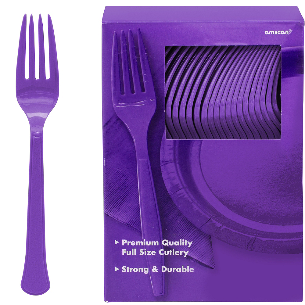 Nav Item for Big Party Pack Purple Premium Plastic Forks 100ct Image #1