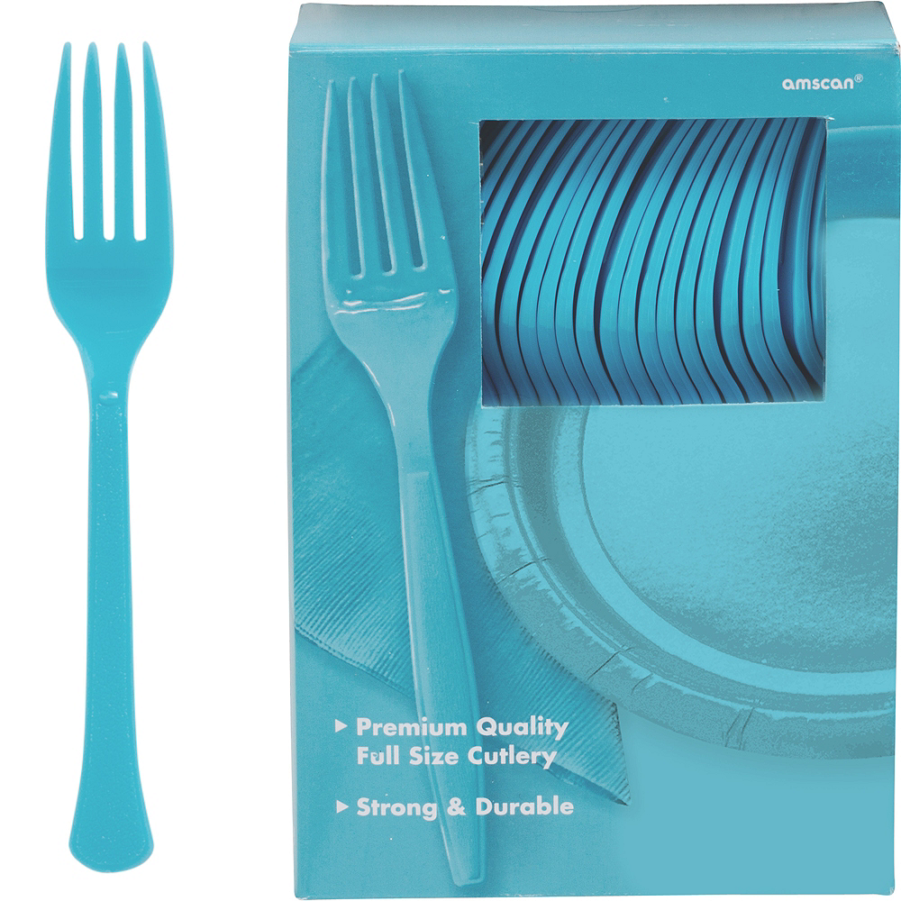 Big Party Pack Caribbean Blue Premium Plastic Forks 100ct Image #1