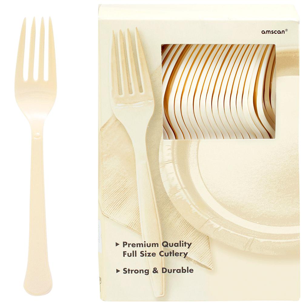 Big Party Pack Vanilla Cream Premium Plastic Forks 100ct Image #1