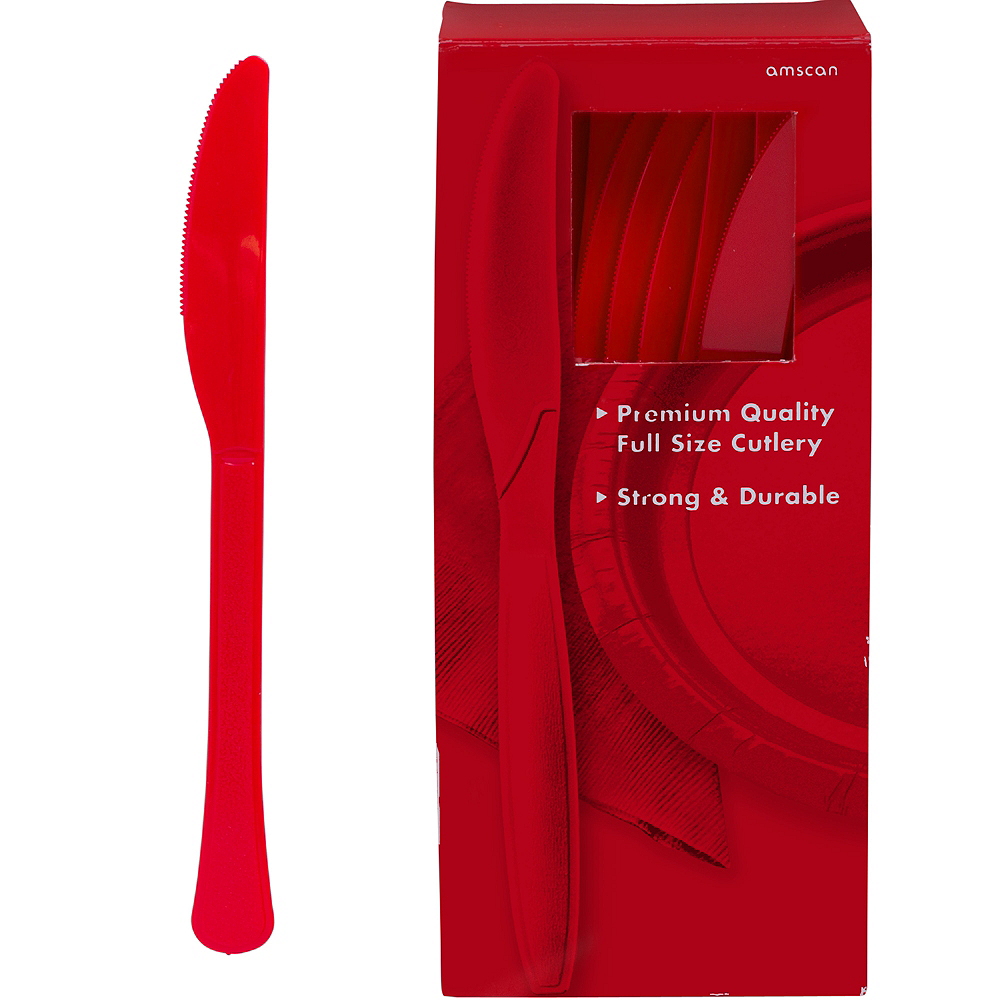Big Party Pack Red Premium Plastic Knives 100ct Image #1