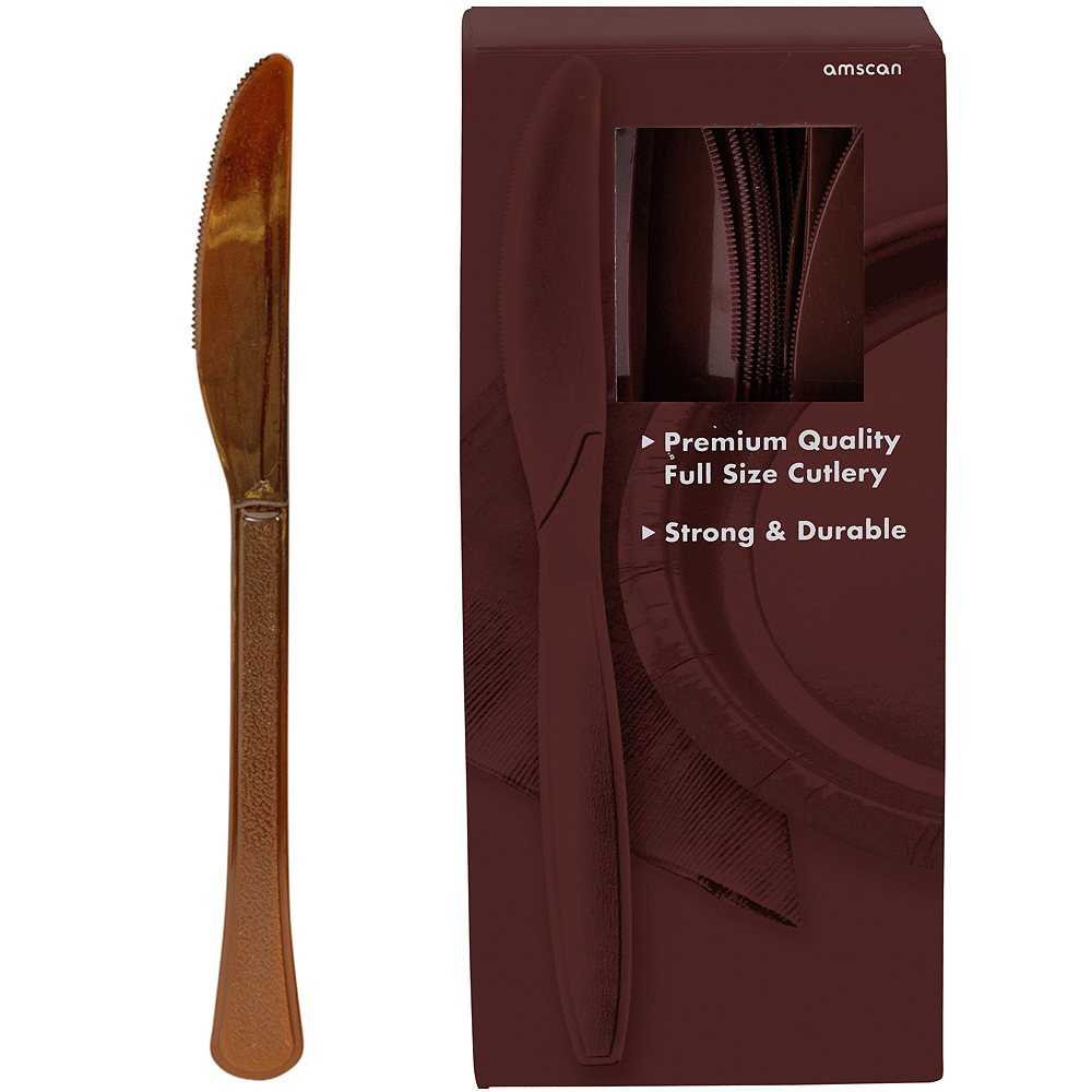 Big Party Pack Chocolate Brown Premium Plastic Knives 100ct Image #1
