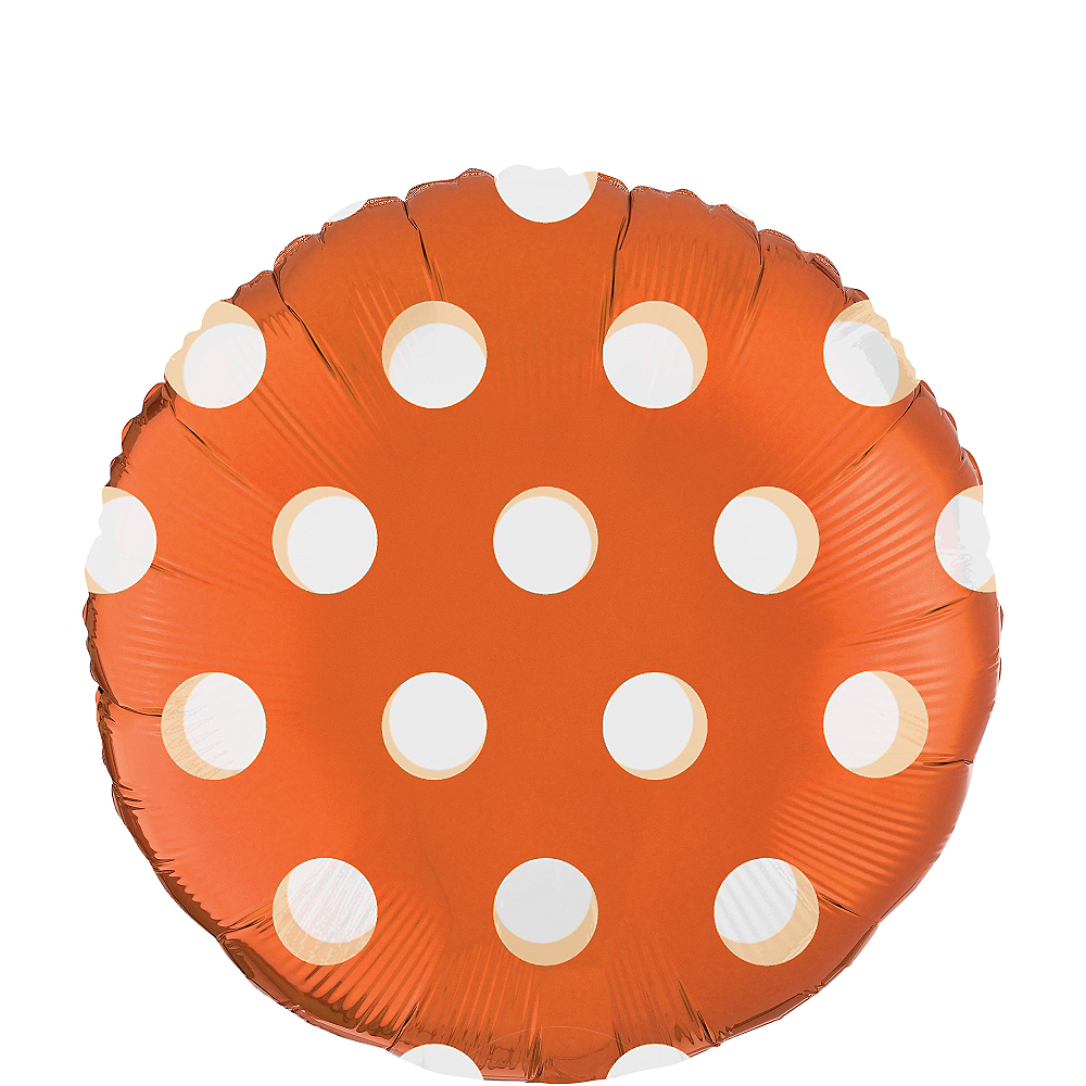 Orange Polka Dot Round Balloon, 18in Image #1