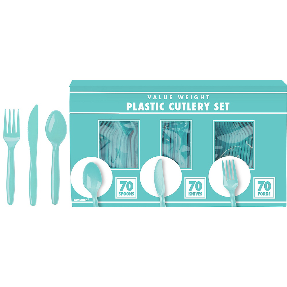 Big Party Pack Robin's Egg Blue Value Plastic Cutlery Set 210ct Image #1