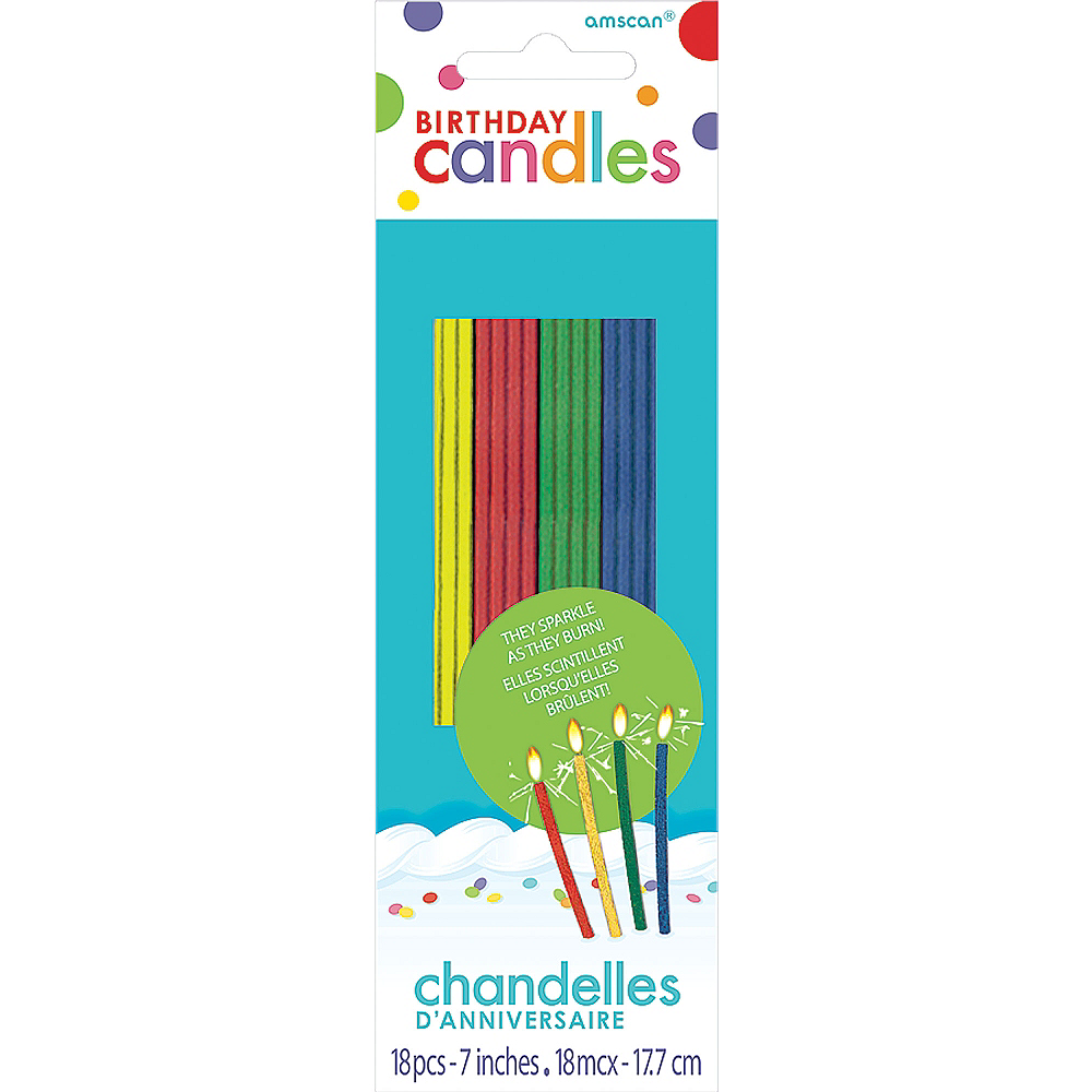 Tall Multicolor Sparkler Birthday Candles 18ct Image #1