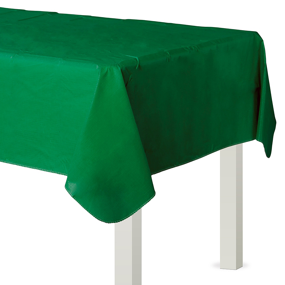 Festive Green Flannel-Backed Vinyl Tablecloth Image #1