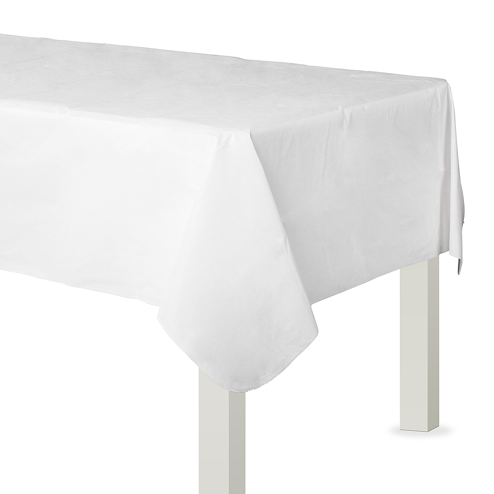 White Flannel-Backed Vinyl Tablecloth Image #1