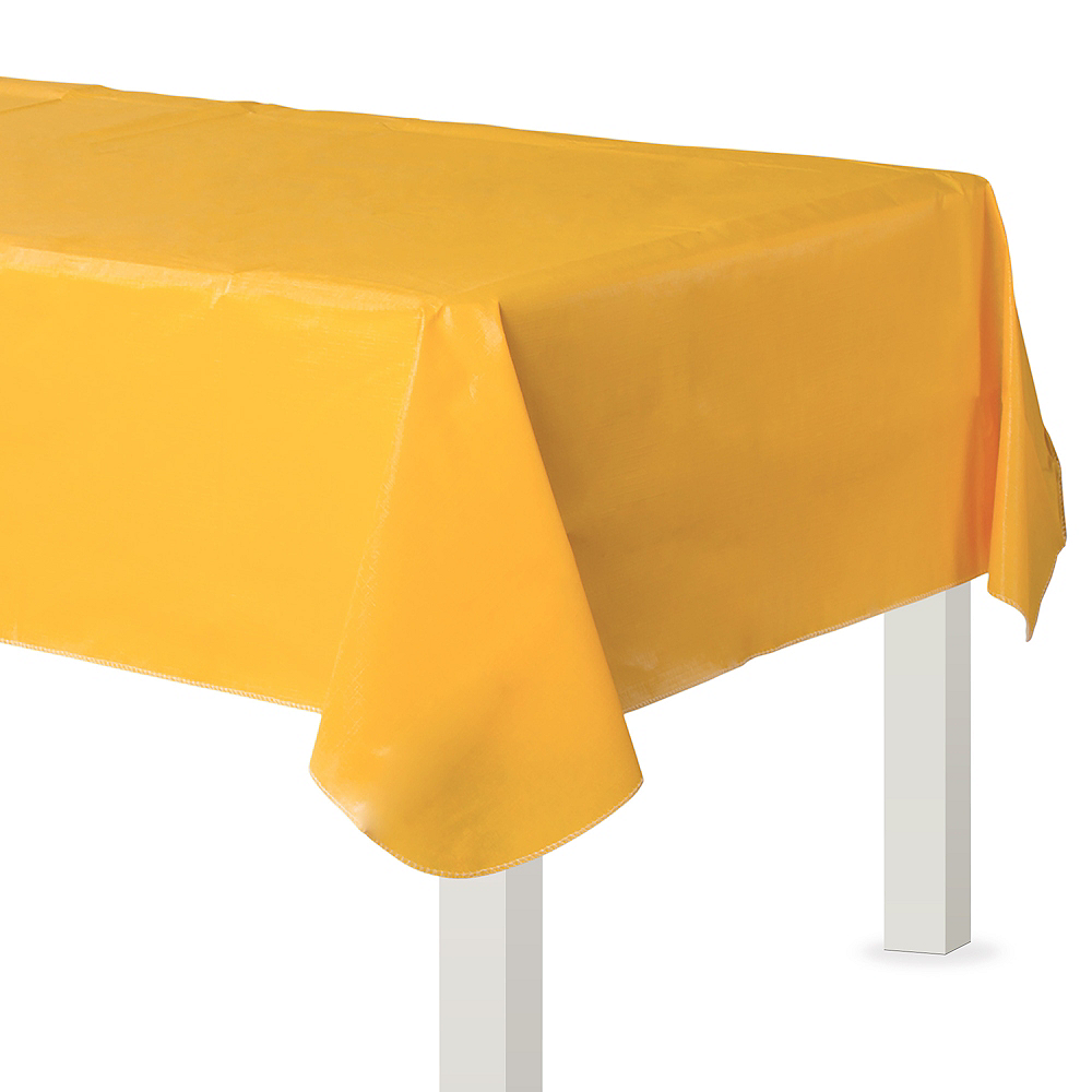 Sunshine Yellow Flannel-Backed Vinyl Tablecloth Image #1