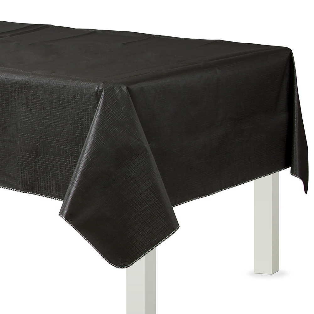 Black Flannel-Backed Vinyl Tablecloth Image #1