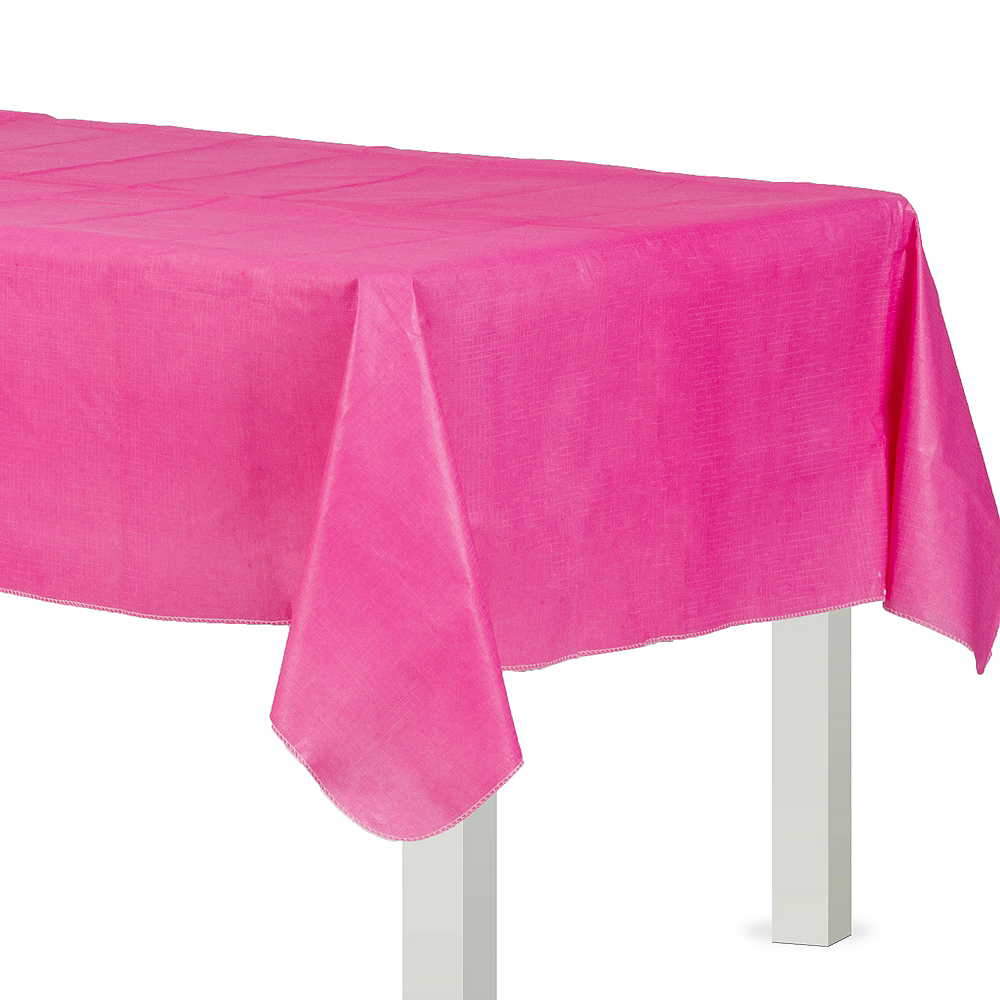 Bright Pink Flannel-Backed Vinyl Tablecloth Image #1