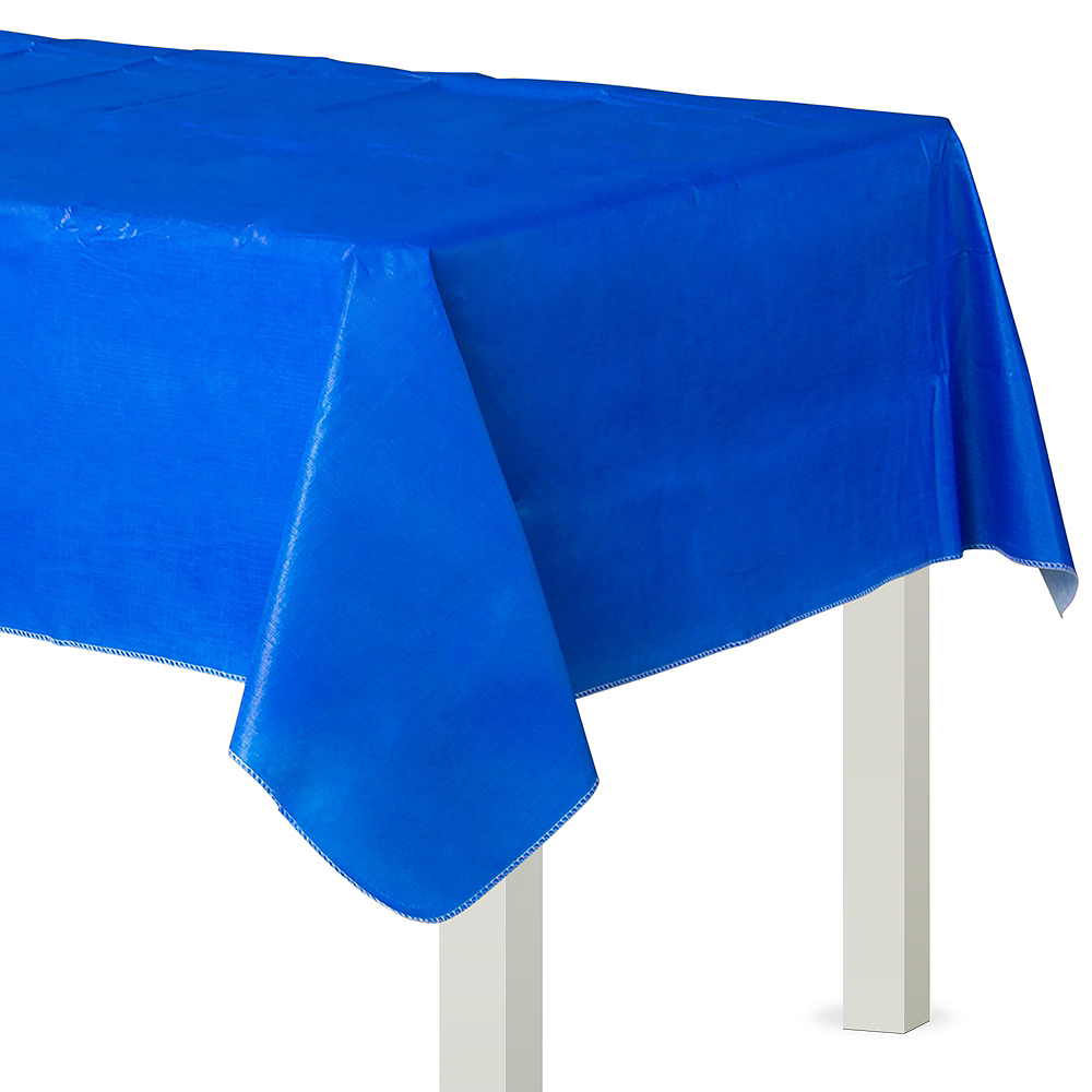Royal Blue Flannel-Backed Vinyl Tablecloth Image #1