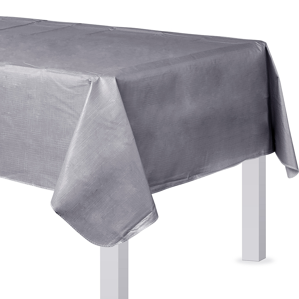Silver Flannel-Backed Vinyl Tablecloth Image #1