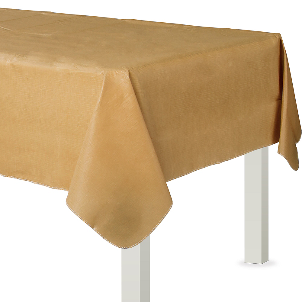 Gold Flannel-Backed Vinyl Tablecloth Image #1
