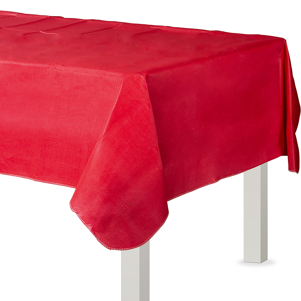 Red Flannel-Backed Vinyl Tablecloth Image #1