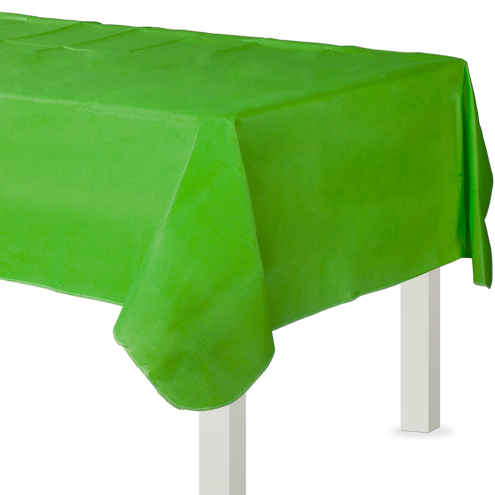 Kiwi Green Flannel-Backed Vinyl Tablecloth Image #1