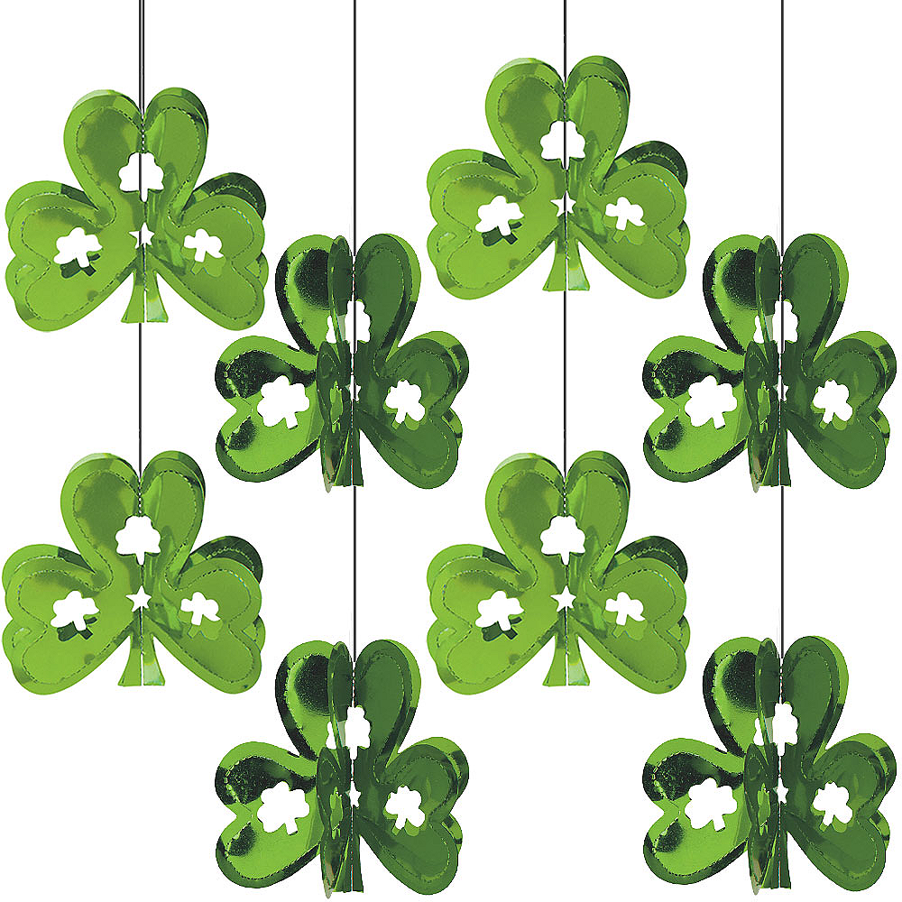 Mini 3D Shamrock String Decorations 8ct Image #1