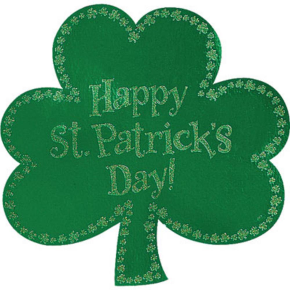 Glitter Happy St. Patrick's Day Shamrock Cutout Image #1