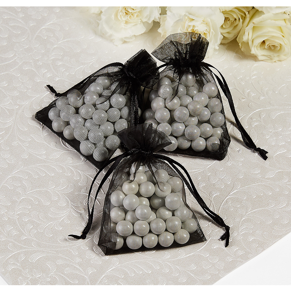 0ef6288767b Black Organza Wedding Favor Bags Image  1