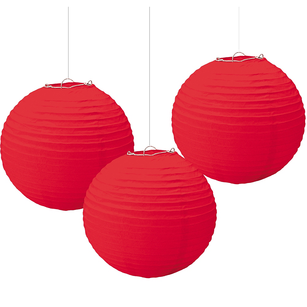 Red Paper Lanterns 3ct Image #1