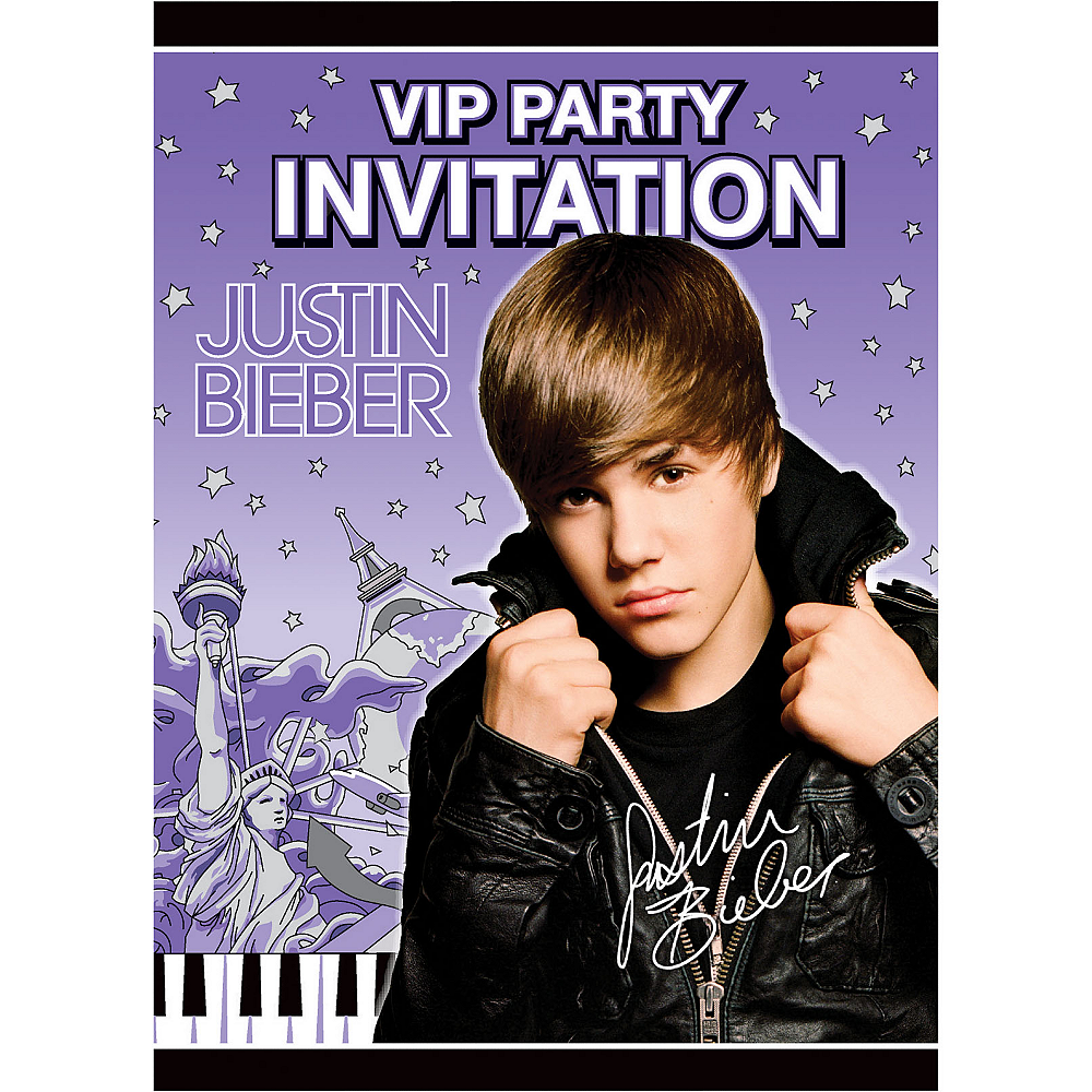 Justin Bieber Invitations 8ct Image #1