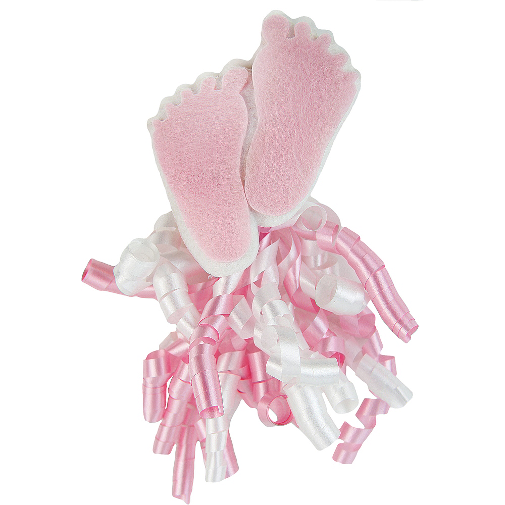 Nav Item for Pink Felt Baby Feet Curly Bow Image #1