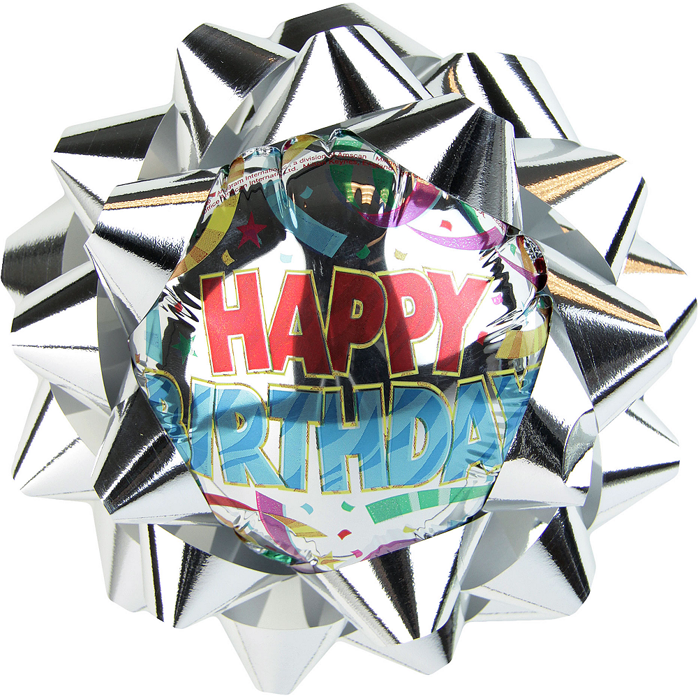 Silver Happy Birthday Balloon Gift Bow Image #1