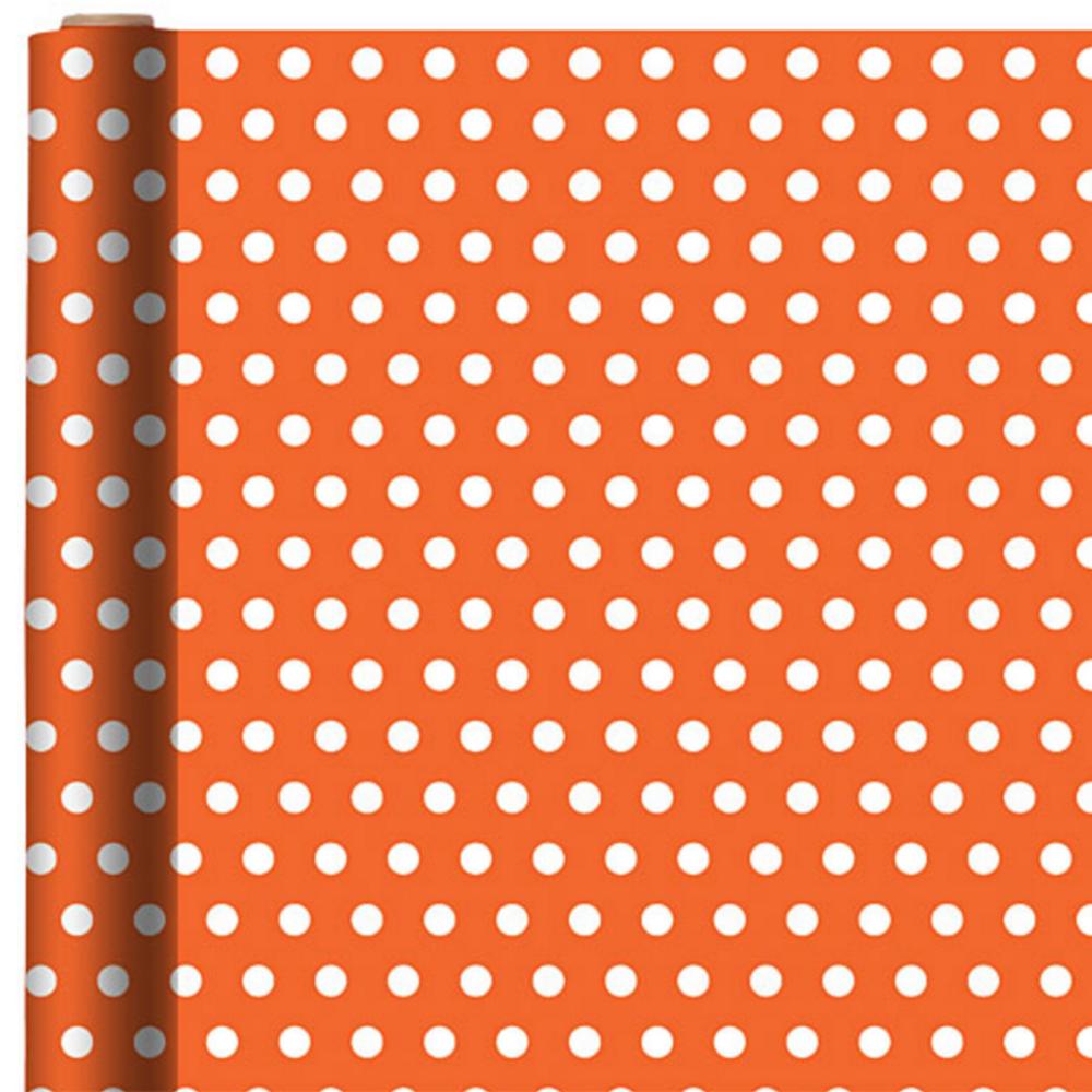 Jumbo Orange Polka Dot Gift Wrap Image #1