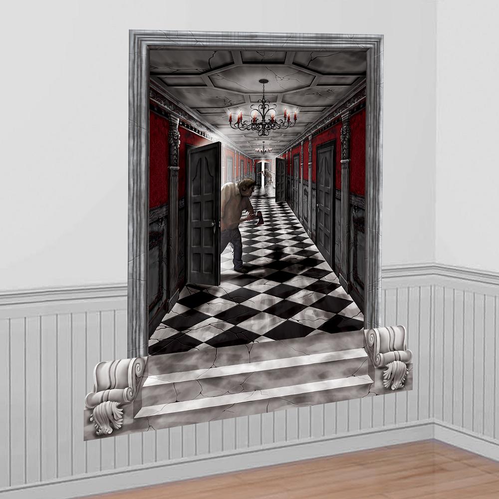 Gothic Mansion Long Hallway Scene Setters Image #1