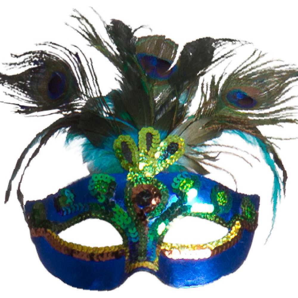 Peacock Feather Masquerade Mask Image #1