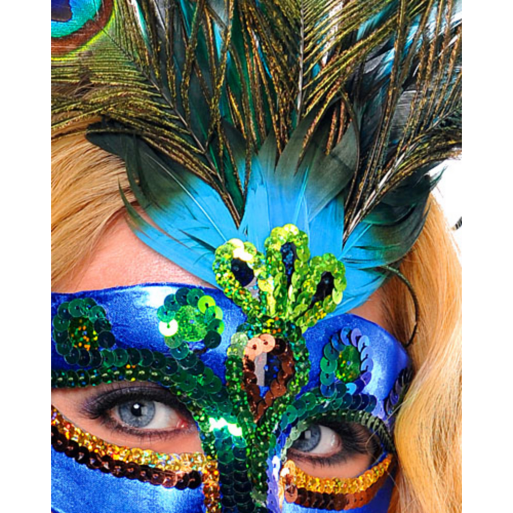 Peacock Feather Masquerade Mask Image #2