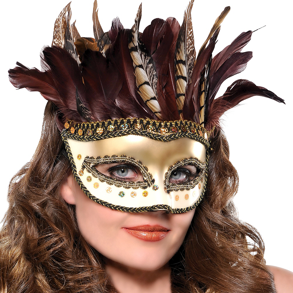Owl Feather Masquerade Mask Image #2