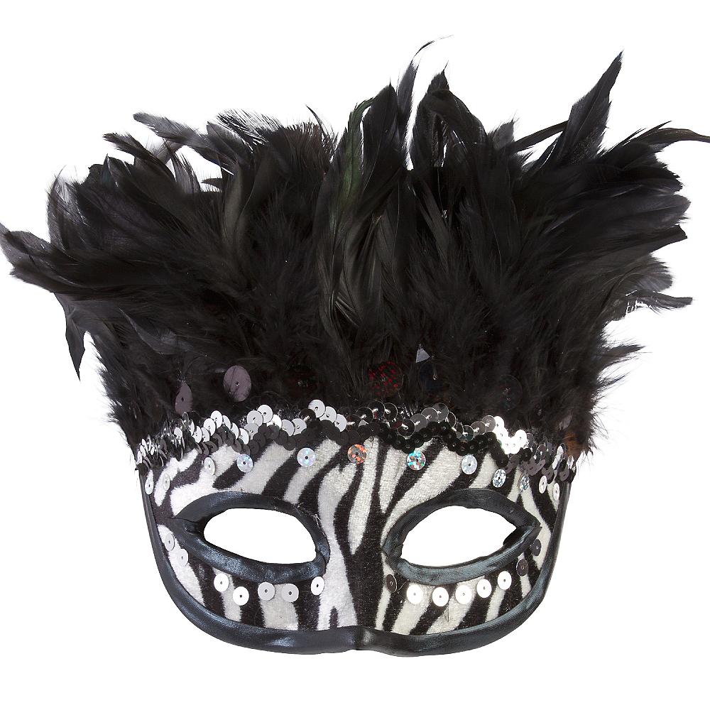 Zebra Feather Masquerade Mask Image #1