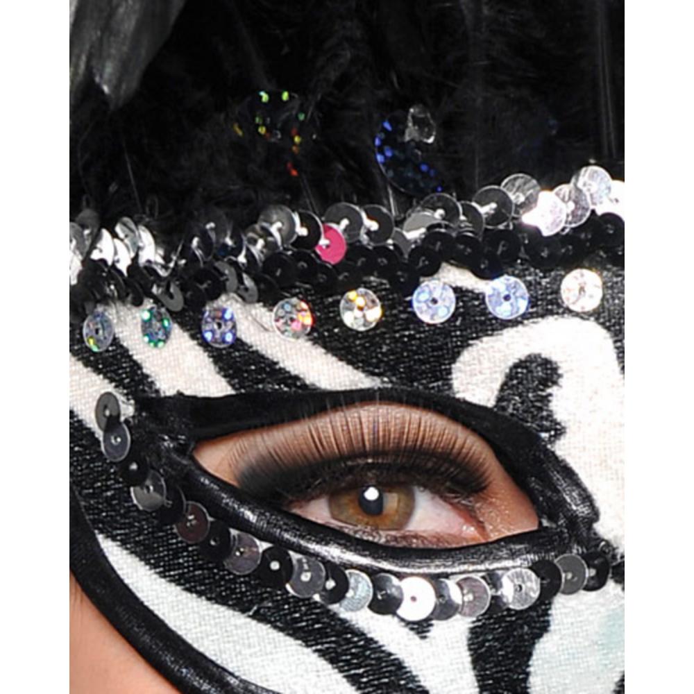 Zebra Feather Masquerade Mask Image #2