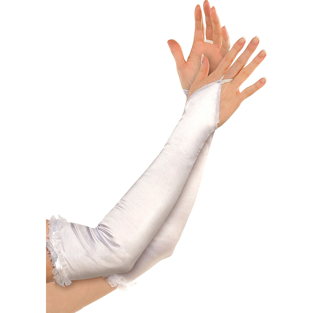 Satin White Arm Warmers Image #1