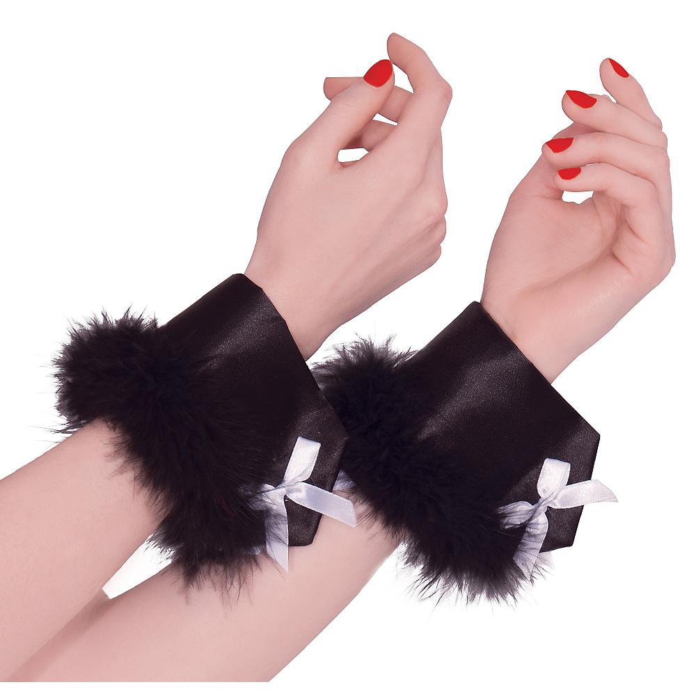 Black Marabou Bunny Cuffs Image #1