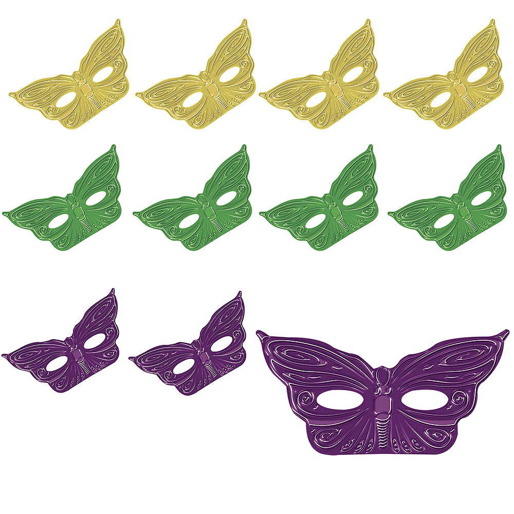 Nav Item for Foil Butterfly Mardi Gras Masks 36ct Image #1