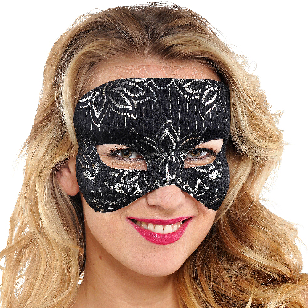 Black Lace Mask Image #2