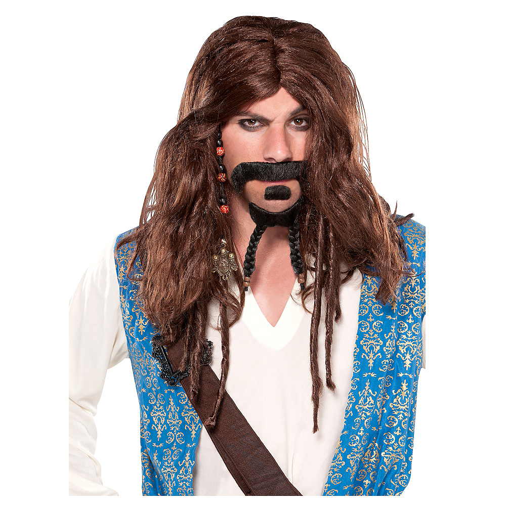Deluxe Captain Jack Sparrow Pirate Wig Image #1