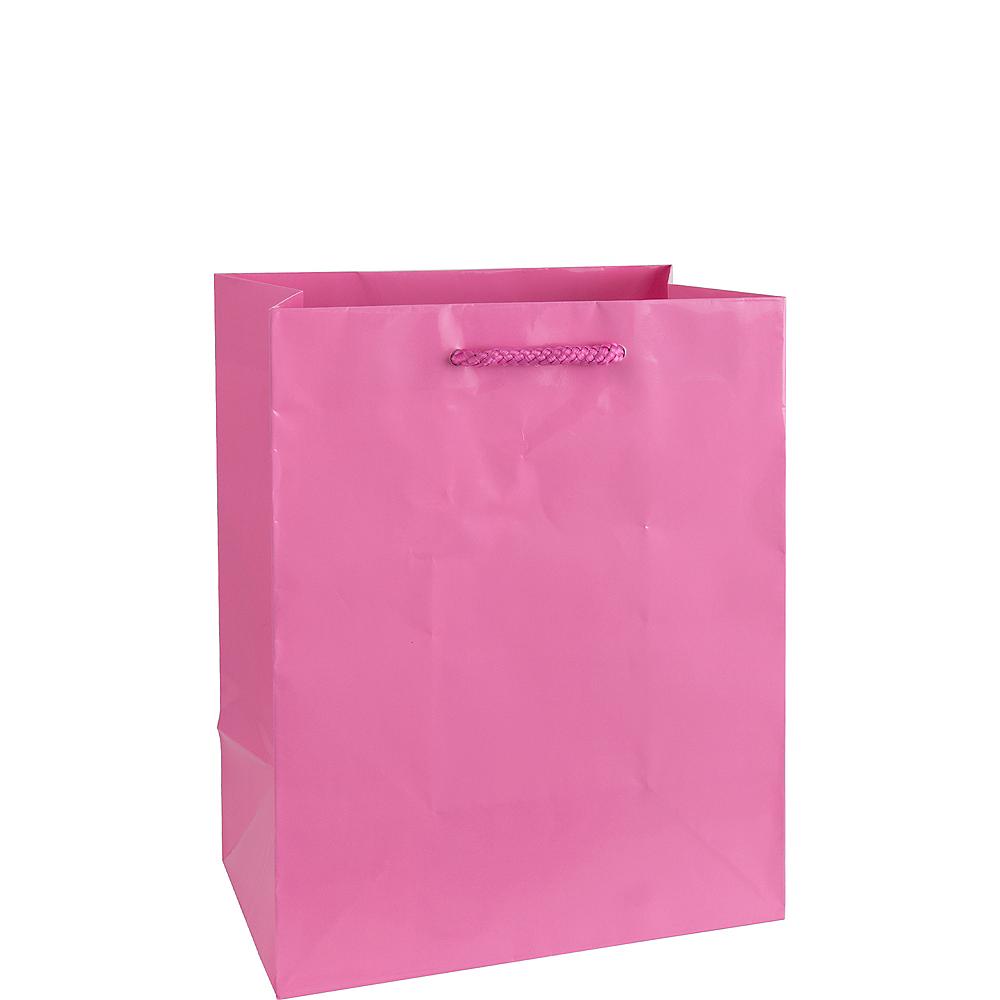 Medium Glossy Bright Pink Gift Bag Image #1