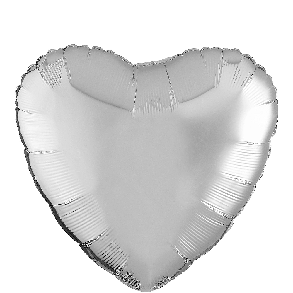 17in Silver Heart Balloon Image #1