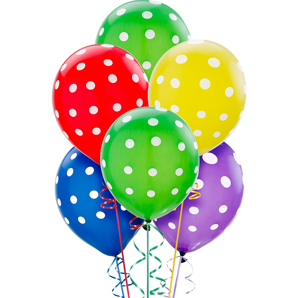 Polka Dot Balloons 20ct - Primary Color, 12in Image #1