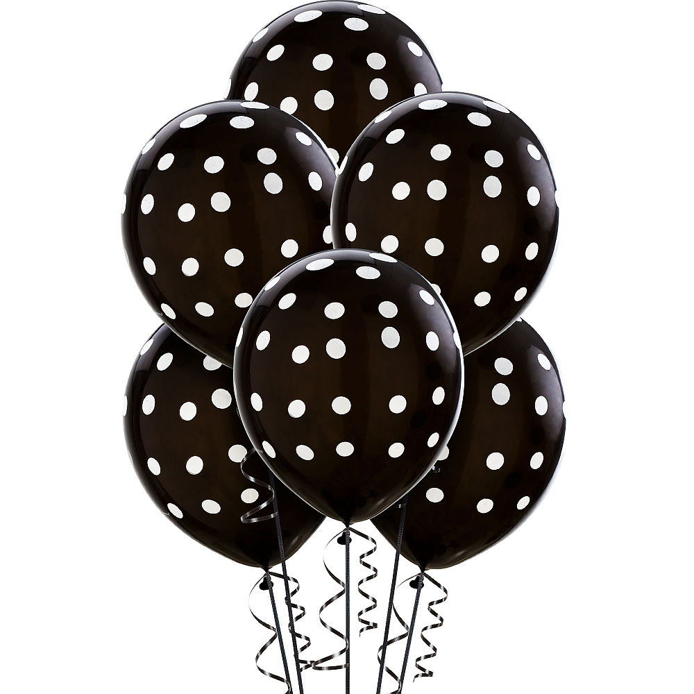 Black Polka Dot Balloons 6ct Image #1