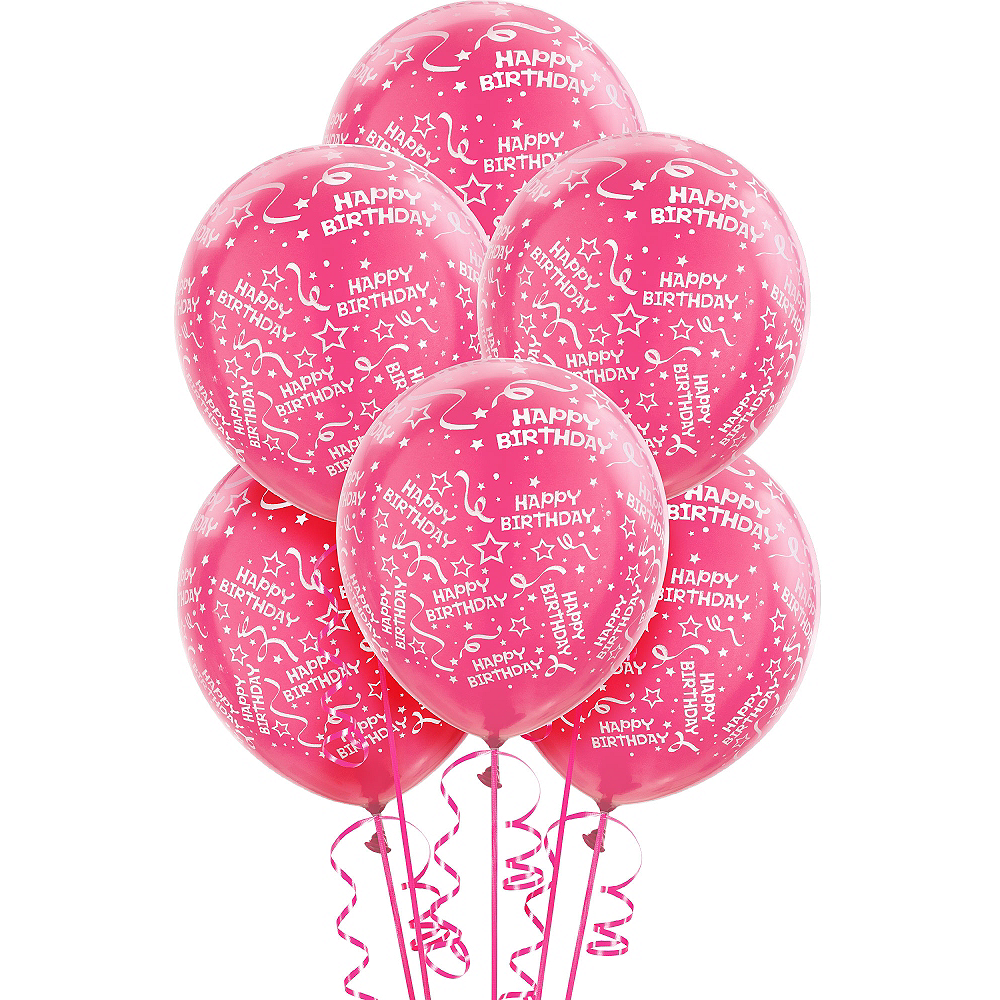Pink Birthday Balloons 6ct